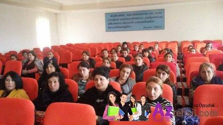 """Göygöl rayonunda """"Ümumi təhsil müəssisəsinin kitabxanasının Əsasnaməsi"""" nin təqdimatı ilə əlaqədar seminar keçirilib."""