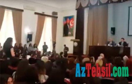 Tələbə rektorla mübahisə etdi - ADU-da narazılıq + Video