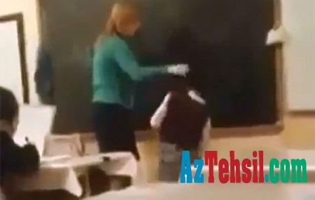 """Azərbaycanda müəllimə azyaşlı uşağın başına yumruq vurdu, """"qoyun"""" dedi, """"dərs"""" öyrətdi - VİDEO"""