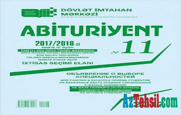 """""""Abituriyent"""" jurnalının 11-ci nömrəsi çapdan çıxıb"""