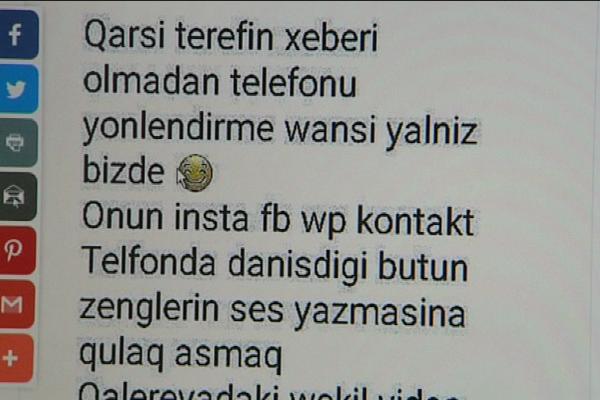 Sosial şəbəkələrdə yeni fırıldaq metodu: Pulunu ver, ərinin yazışmalarından xəbərdar ol - VİDEO