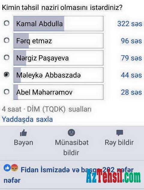 Sosial şəbəkə istifadəçiləri Təhsil nazirini seçdi – FOTO