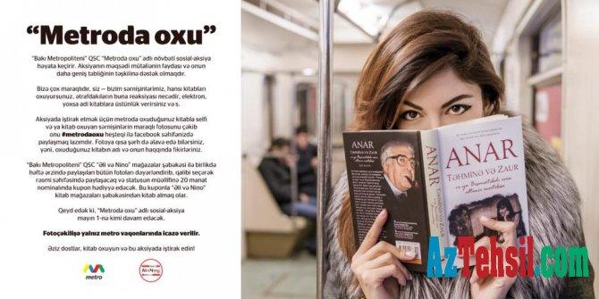Metroda kitab oxuyanlara hədiyyə qazanmaq şansı -Bunu etsəniz...