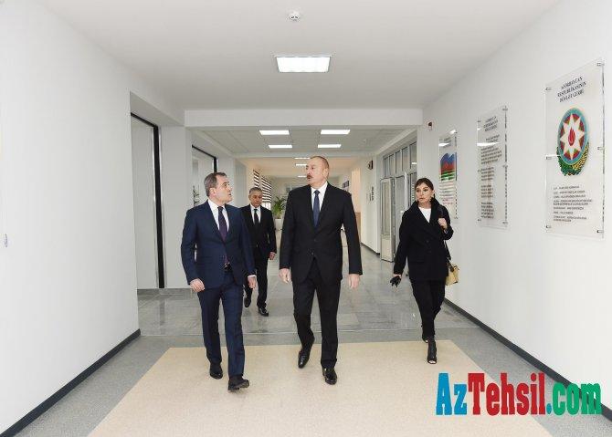 Prezident və xanımı Bakıda orta məktəbin açılışını etdi