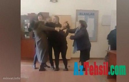 Azərbaycanda məktəbdə biabırçılıq: Direktorla valideyn saçyolduya çıxdı– VİDEO