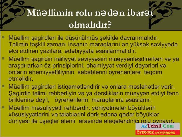 Həqiqi Muəllim Adini Dasiyan Insan Həmisə Aztehsil Com