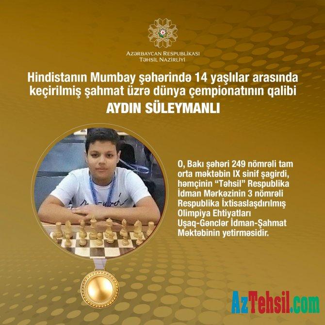 """""""Təhsil"""" Respublika İdman Mərkəzinin şahmatçısı dünya çempionu olub"""