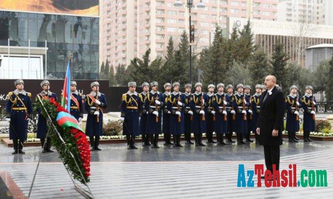 Prezident İlham Əliyev Xocalı soyqırımı qurbanlarının xatirəsini anım mərasimində iştirak edib