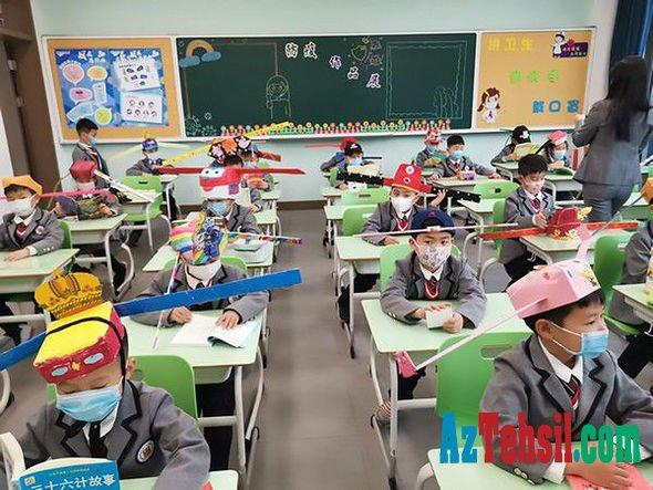 Koronavirusdan müdafiə: Çində məktəbliləri qeyri-adi baş geyimi taxmağa məcbur edirlər