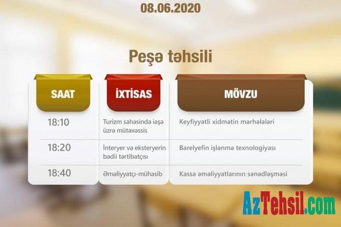 Peşə təhsili üzrə teledərslərin iyunun 8-i üçün cədvəli açıqlanıb