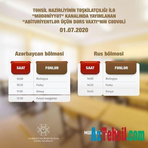 """""""Abituriyentlər üçün dərs vaxtı""""nın sabaha olan CƏDVƏLİ"""