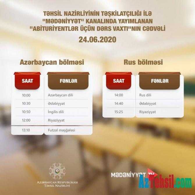"""Abituriyentlər üçün dərs vaxtı""""nın 24 iyun cədvəli"""
