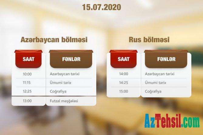 """""""Abituriyentlər üçün dərs vaxtı""""nın iyulun 15-nə olan cədvəli"""
