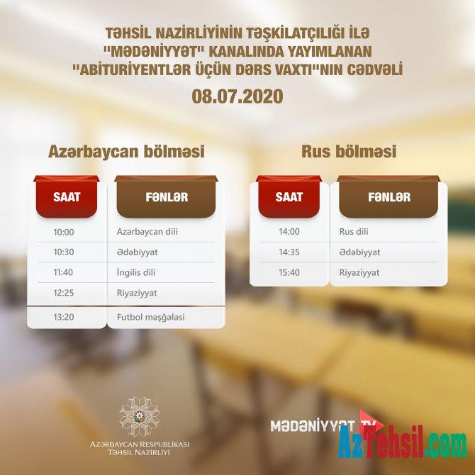 """""""Abituriyentlər üçün dərs vaxtı""""nın 8 iyul cədvəli"""