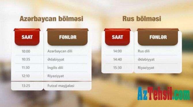 """""""Abituriyentlər üçün dərs vaxtı""""nın 13 iyul cədvəli"""