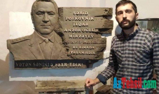 Rəssamlıq Akademiyasının tələbəsi şəhid polkovnik İlqar Mirzəyevin büstünü hazırlayıb