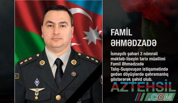 Təhsil Nazirliyi şəhid olan tarix müəllimi barədə