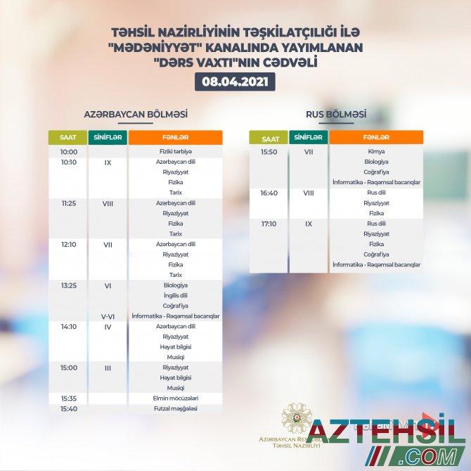 """""""Dərs vaxtı""""nın 8 aprel cədvəli"""