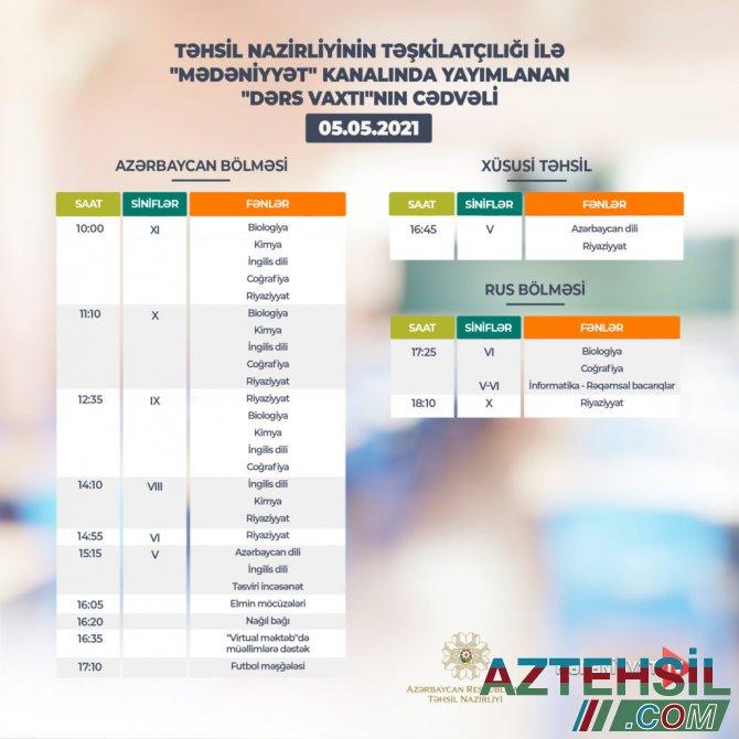 """""""Dərs vaxtı""""nın 5 may cədvəli"""