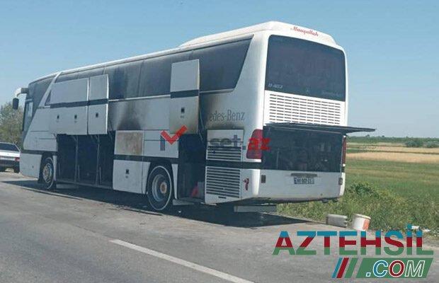 Şagirdləri Qubaya istirahətə aparan avtobus yandı