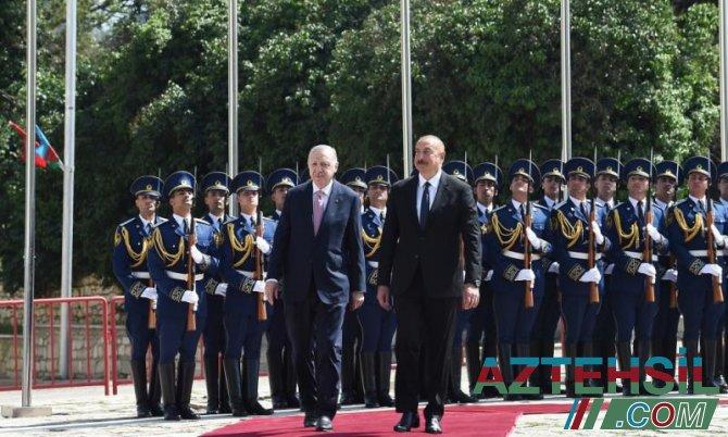 Şuşada Türkiyə Prezidenti Rəcəb Tayyib Ərdoğanın rəsmi qarşılanma mərasimi olub