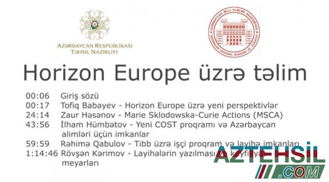 """Avropa İttifaqının """"Horizon Europe"""" proqramı haqqında təlim keçirilib"""