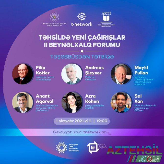 Təhsildə Yeni Çağırışlar II Beynəlxalq Forumu keçiriləcək